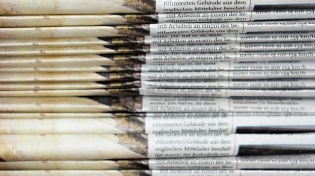 newspapers close up stacked
