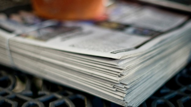 stack of newspapers tied.