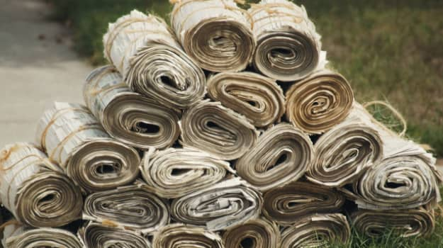 Stacked rolls of Newspaper